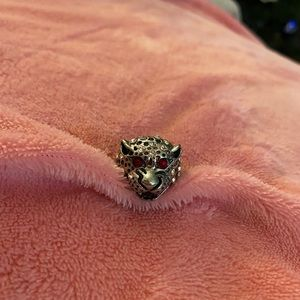 Stunning Leopard Ring with Ruby Eyes